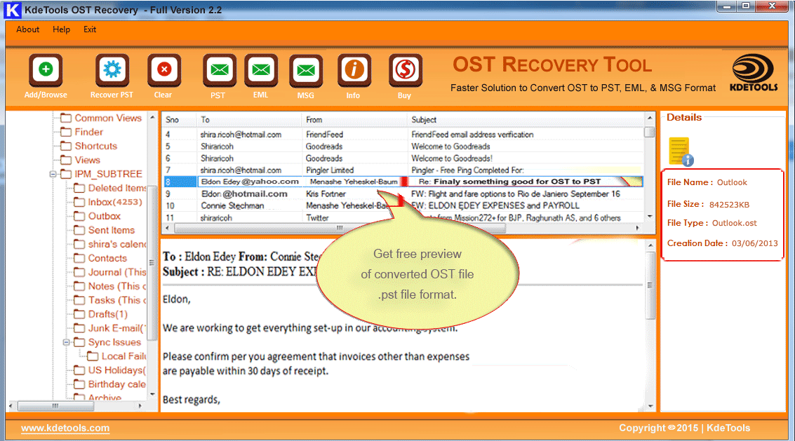 Click to view Offline OST to PST Converter 2.2.2 screenshot